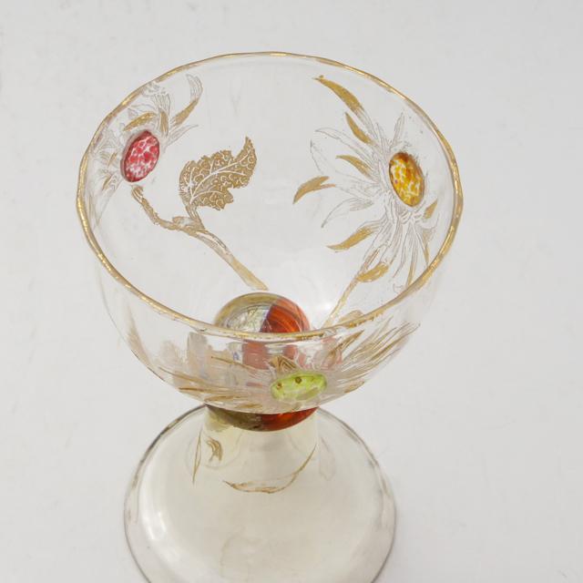 アールヌーヴォー「カボションガラス 菊文 ワイングラス 高さ10cm」
