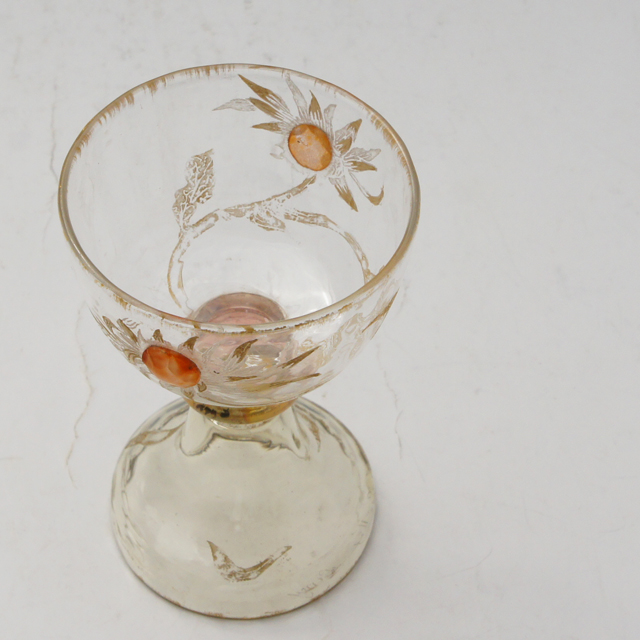 アールヌーヴォー「カボションガラス 菊文 リキュールグラス 高さ8.6cm」