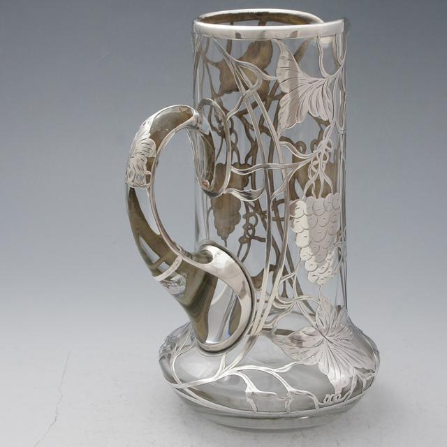 グラスウェア「銀巻き装飾 ピッチャー 高さ23cm」