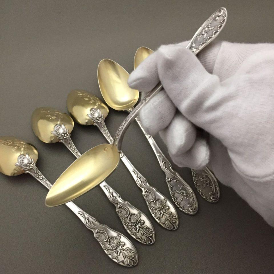 シルバー「金彩 天使文 ティースプーン 6本セット 長さ14.4cm」