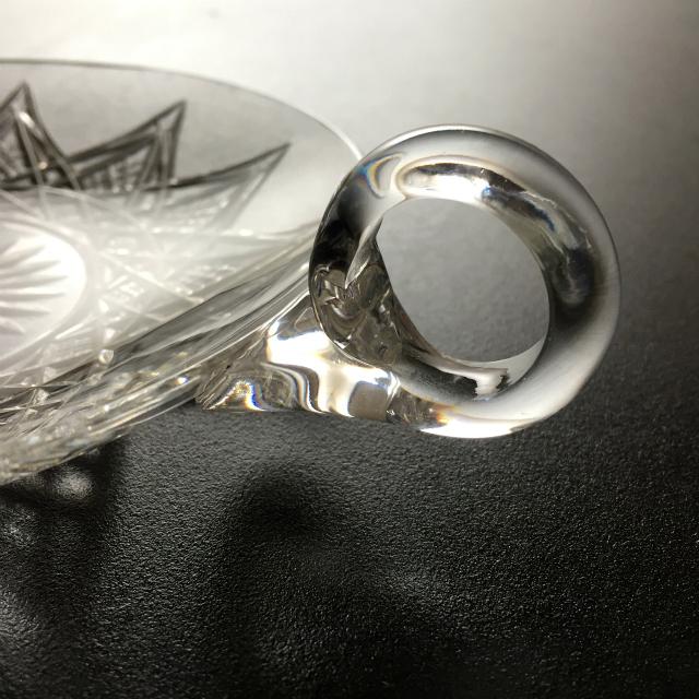 グラスウェア「カット装飾 ハンドル付き プレート 6枚セット 直径13.6cm」