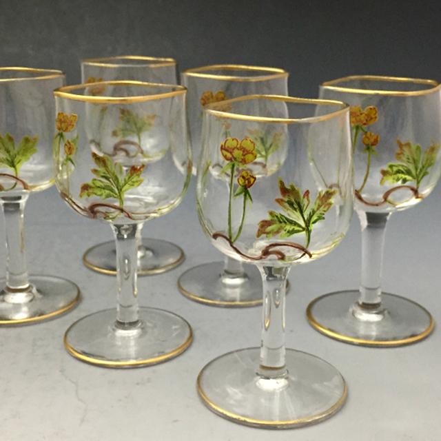 グラスウェア「エナメル装飾 草花文 リキュールセット(ボトル&グラス6客)」