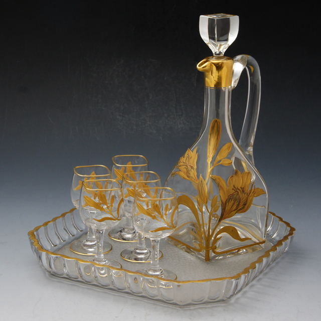 グラスウェア「金彩装飾 ユリ文様 リキュールセット(ボトル&グラス5客&トレー)」